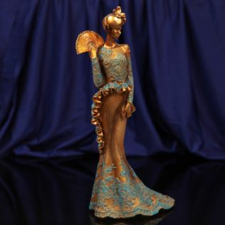 Raffles Collection Lady Figurine Bronze & Blue Finish 34.5cm Product Image