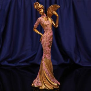 Raffles Collection Lady Figurine Bronze & Pink Finish 34cm Product Image
