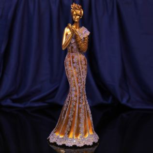 Raffles Collection Lady Figurine Bronze & Lilac Finish 34cm Product Image