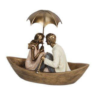 Rainy Day Collection Resin Figurine - Couple in Boat 13cm Product Image