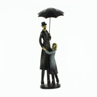 Rainy Day Figurine Father & Daughter Under Umbrella Product Image