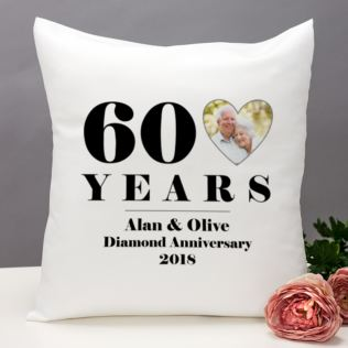 Personalised 60th Wedding Anniversary Photo Cushion Product Image