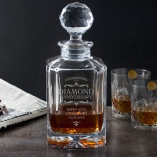 Personalised Diamond Anniversary Square Crystal Decanter Product Image