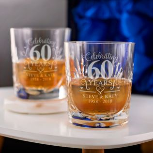 Engraved Cut Crystal Diamond Anniversary Whisky Tumblers Product Image