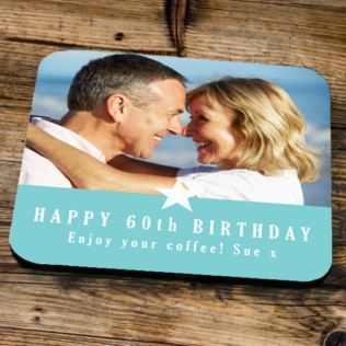 Personalised 60th Birthday Blue Photo Coaster Product Image