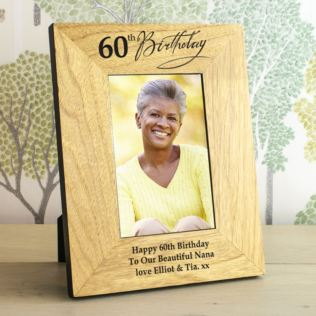 60th Birthday Wooden Personalised Photo Frame Product Image