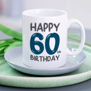 Personalised 60th Birthday Mug Blue Product Image