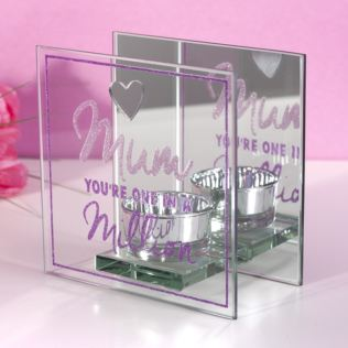 Mum In A Million Glass T-Lite Holder Product Image