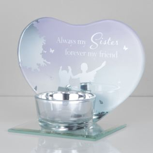Heart Shape Glass Tealight Holder - Sisters Product Image