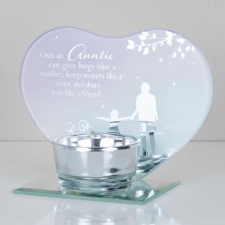 Heart Shape Glass Tealight Holder - Auntie Product Image