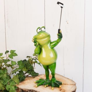 Hand Painted Resin Standing Frog Selfie Figurine Product Image