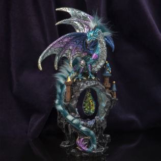 Mystic Legends Blue Dragon with LED & Crystal Pendant 34cm Product Image