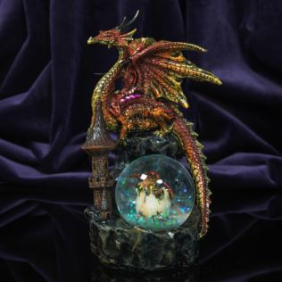 Mystic Legends Red & Gold Dragon Figurine with Glitter Ball Product Image