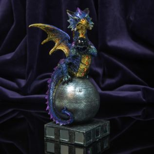 Mystic Legends Blue Dragon Figurine with Blue Glass Orb Product Image