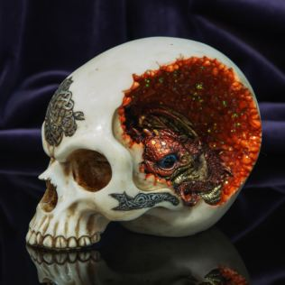 Mystic Legends Skull with A Dragon Inside Ornament Product Image