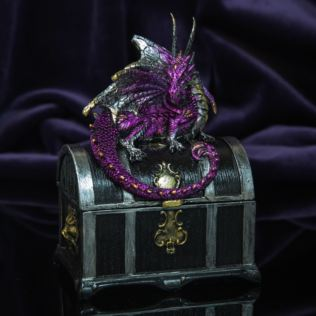 Mystic Legends Purple Dragon On Treasure Chest Trinket Box Product Image