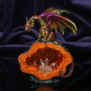 Mystic Legends Red & Gold Dragon On A Cave Figurine Product Image