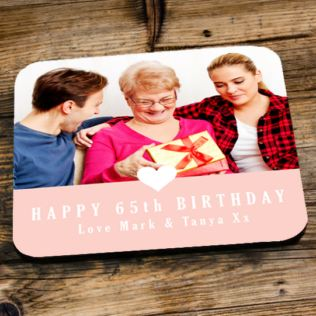Personalised 65th Birthday Pink Photo Coaster Product Image