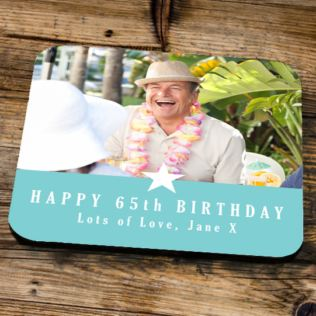 Personalised 65th Birthday Blue Photo Coaster Product Image