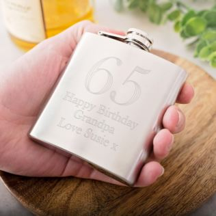 Personalised 65th Birthday Brushed Stainless Steel Hip Flask Product Image