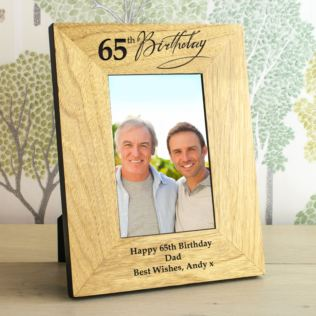 65th Birthday Wooden Personalised Photo Frame Product Image