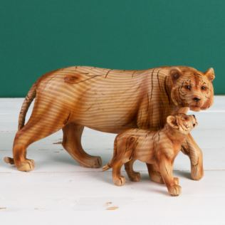 Naturecraft Wood Effect Resin Figurine - Tiger & Cub Product Image
