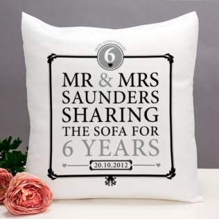 Personalised 6th Anniversary Sharing The Sofa Cushion Product Image
