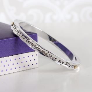 Two Tone Mum Friend Hinged Bangle In Personalised Box Product Image