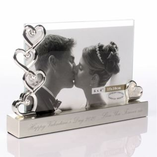 Engraved Valentines Day Five Hearts Photo Frame Product Image