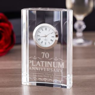 Engraved Platinum Wedding Anniversary Mantel Clock Product Image