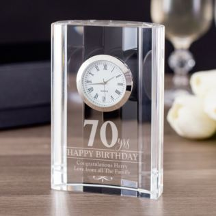 Engraved 70th Birthday Mantel Clock Product Image
