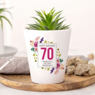 Personalised 70th Birthday Plant Pot Product Image