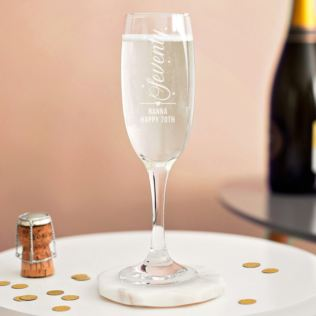 Personalised 70th Birthday Prosecco Glass Product Image