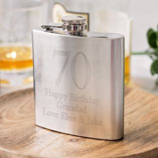 Personalised 70th Birthday Brushed Stainless Steel Hip Flask Product Image