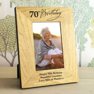 70th Birthday Wooden Personalised Photo Frame Product Image