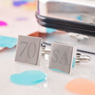 Personalised 70th Birthday Silver Plated Cufflinks Product Image