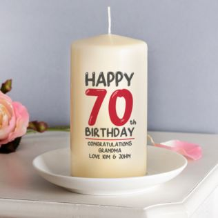 Personalised 70th Birthday Candle Red Product Image
