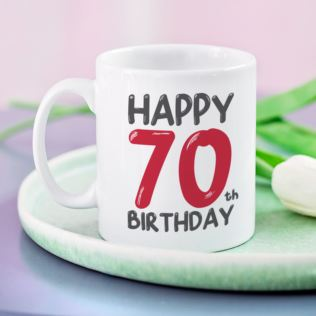 Personalised 70th Birthday Mug Red Product Image