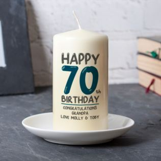 Personalised 70th Birthday Candle Blue Product Image