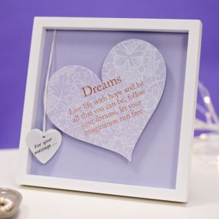 Dreams Sentiment Heart Art Frame Product Image