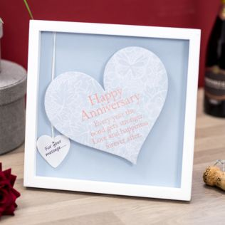 Happy Anniversary Sentiment Heart Art Frame Product Image