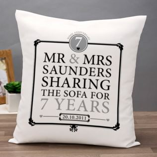 Personalised 7th Anniversary Sharing The Sofa Cushion Product Image