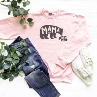 Mama Bear and Cub Personalised Pink Sweatshirt Product Image