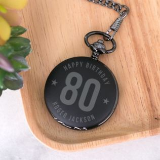 Personalised 80th Birthday Black Pocket Watch Product Image