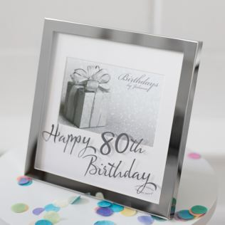 80th Birthday Silver Plated Box Frame Product Image