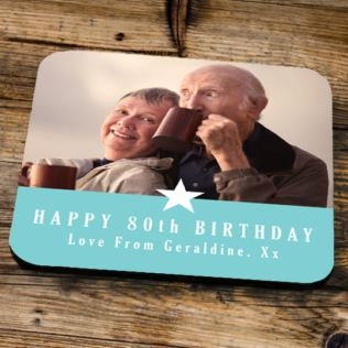 Personalised 80th Birthday Blue Photo Coaster Product Image