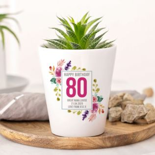 Personalised 80th Birthday Plant Pot Product Image