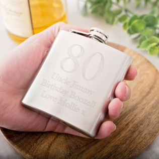 Personalised 80th Birthday Brushed Stainless Steel Hip Flask Product Image