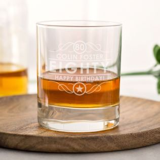 Personalised 80th Birthday Whisky Glass Product Image