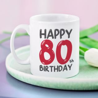 Personalised 80th Birthday Mug Red Product Image